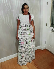 Embellished 3 Tier White Lace Maxi Dress with African Print Lining - ATMKollectionz