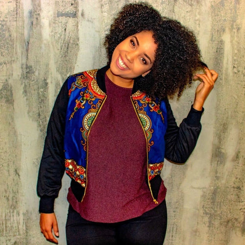 New in Padded Mixed Print Ankara Bomber Jacket - Blue