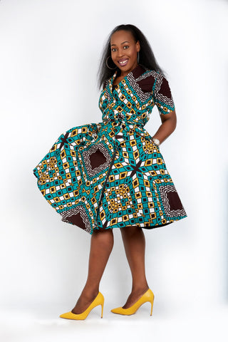 New in - Nia African Ankara Print Wrap Dress -Green - African Clothing from CUMO LONDON