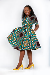 New in - Nia African Ankara Print Wrap Dress -Green - ATMKollectionz