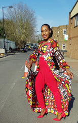 New in - Efua African Print Ankara Silk Long Top - Red - African Clothing from CUMO LONDON