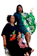 Fully Embellished Mixed Print Ankara Fitted Combo Dress - ATMKollectionz
