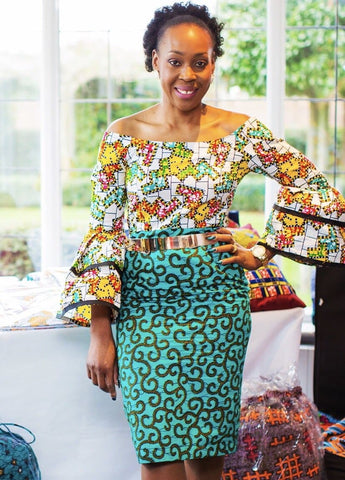 Fully Embellished Mixed Print Ankara Fitted Combo Dress