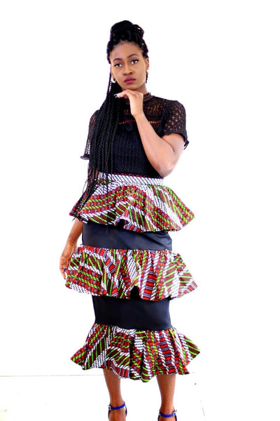 New in Mercedes African Print Ankara 3 Tier Skirts - ATMKollectionz