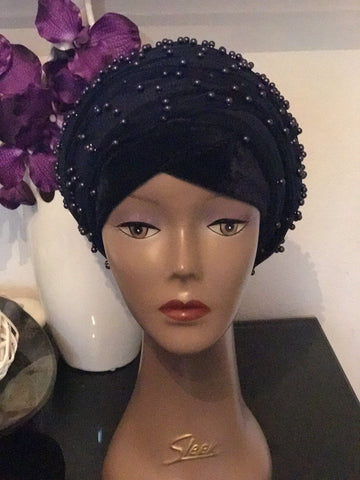 Navy Blue Mesh Net Full beaded Double hand or Extra Large Velvet Turban Headwrap Hijab - African Clothing from CUMO LONDON