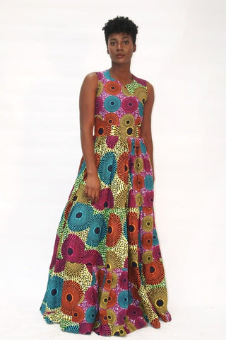 African Print Multicoloured Ankara Print Maxi Dress - African Clothing from CUMO LONDON