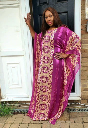 Embellished Chiffon African Purple Bubu Maxi Dress - One Size Fits All