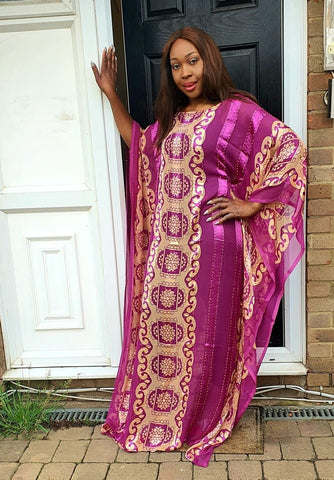 Embellished Chiffon African Purple Bubu Maxi Dress - One Size Fits All - ATMKollectionz