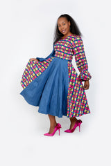Olachi Denim African Print Combo Flared Midi Dress - ATMKollectionz