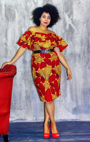 African Print Off shoulder Midi Dress - ATMKollectionz