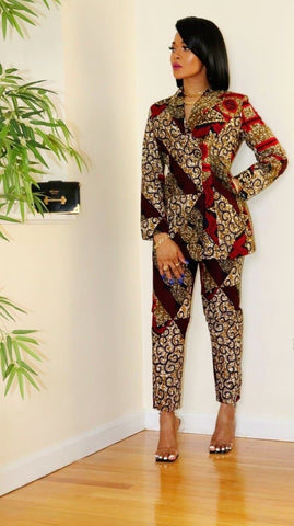 African Print Fitted Trousers - Yemme
