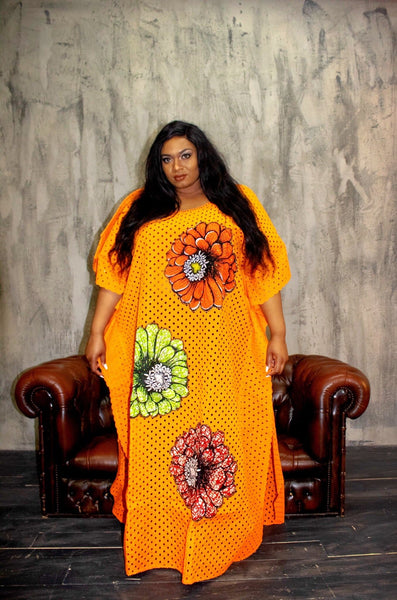 African Inspired Embellished Lace Ankara Inspired Bubu One Size Fits All - African Clothing from CUMO LONDON