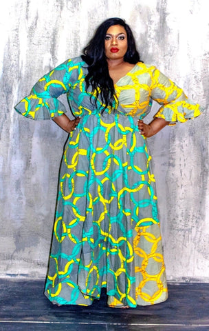 New in Akunna African Ankara Print A Line Maxi Dress
