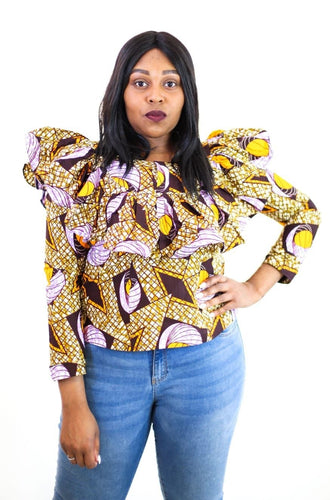 New in Ankara Wax Print Long Sleeve Ruffle Top