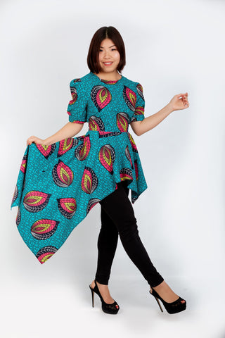 New In - Zuriel African Print Ankara Long Top - ATMKollectionz