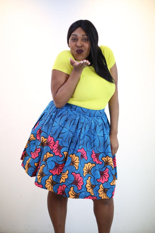 New in African Ankara Print Mini Skirt
