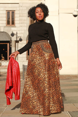 Embellished African Print Ankara Wrap Skirt - Animal Print - African Clothing from CUMO LONDON