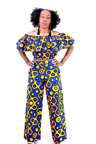 New in 2 Pcs African Print Ankara Off Shoulder Crop Top and Trouser Set - ATMKollectionz