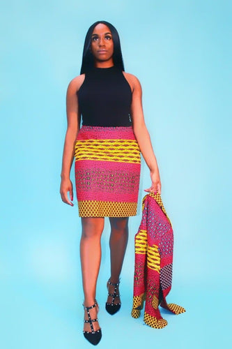 New in Kiki African Ankara Print Jacket and Skirt Set