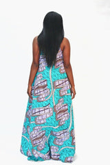 African Print Mixed coloured Ankara Print Maxi Dress - ATMKollectionz