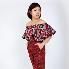 Off Shoulder African Ankara Print Top - Red Wax Print - African Clothing from CUMO LONDON