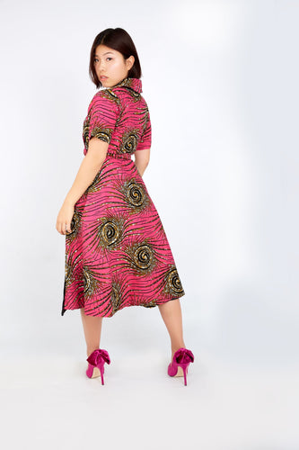 New in African Ankara Print Embellished Wrap Dress -Pink