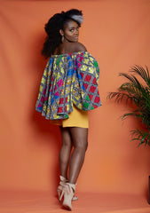 Ifedi Off Shoulder African Print Top/Blouse - African Clothing from CUMO LONDON