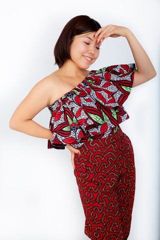 Off Shoulder African Ankara Print Top - Red Wax Print - ATMKollectionz