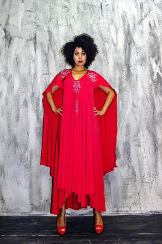 Lolo Red Lycra Maxi Dress - African Clothing from CUMO LONDON
