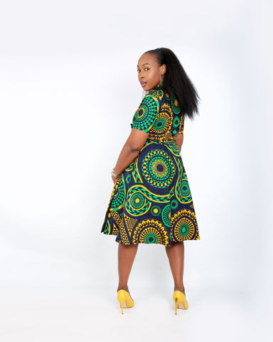 New in - Olamma African Ankara Print Wrap Dress - Mixed Print - ATMKollectionz
