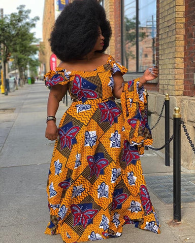 African Print Maxi Dress with cut out sleeves - Flora - African Clothing from CUMO LONDON