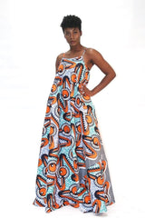 African Print Mixed coloured Ankara Print Maxi Dress - Plus - African Clothing from CUMO LONDON