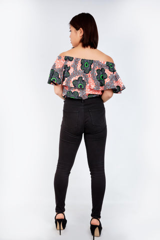 Off Shoulder African Ankara Print Top - Peach Wax Print - ATMKollectionz