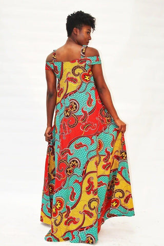 Bianca: African Print A Line Maxi Dress - Multi coloured - African Clothing from CUMO LONDON