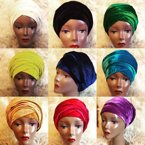 Black Double Plain Velvet Turban | Velvet headwrap - African Clothing from CUMO LONDON