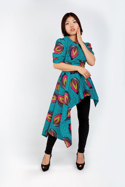 New In - Zuriel African Print Ankara Long Top - African Clothing from CUMO LONDON