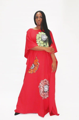 Embellished Ankara Inspired Bubu - Red (One Size