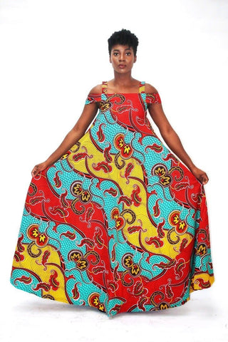 Bianca: African Print A Line Maxi Dress - Multi coloured - ATMKollectionz