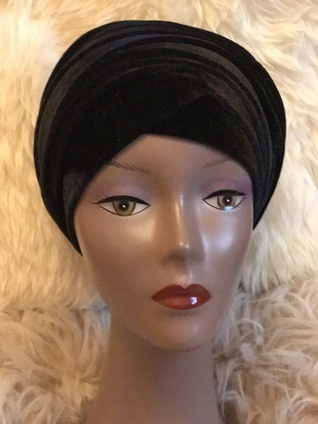 Black Beaded Turban - Double Hand