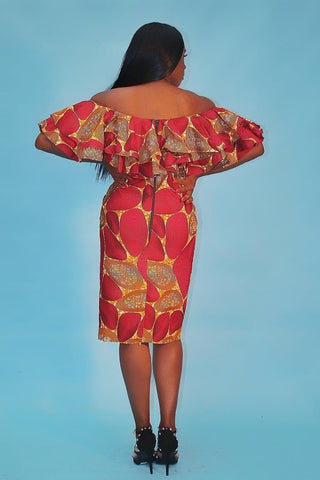 Handmade African Print Ankara off shoulder Pencil Dress - African Clothing from CUMO LONDON