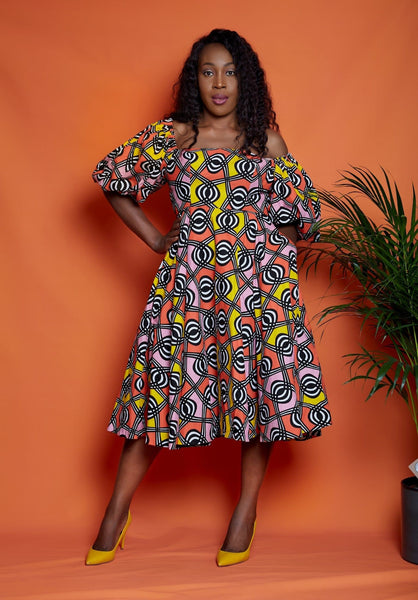 Abike African Print Flare Midi Dress - African Clothing from CUMO LONDON