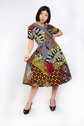 New in - Adora African Ankara Print Wrap Dress - Mixed Print