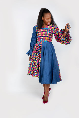 Olachi Denim African Print Combo Flared Midi Dress - African Clothing from CUMO LONDON