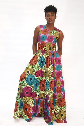 New in African Print Multicoloured Ankara Print Maxi Dress For Curvy Women