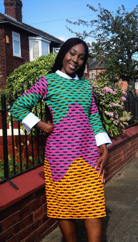 African Prints Ankara Collar Midi Dress - ATMKollectionz