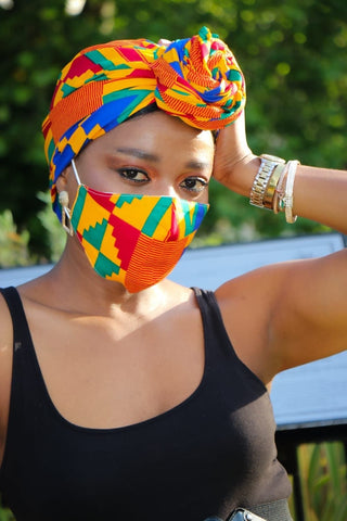 African Print Kente Facemask and Headwrap Set - Ashanti - African Clothing from CUMO LONDON