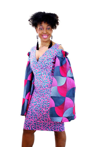 Rikka - Embellished Pink African Print Ankara Fitted Dress with Cut-out Sleeves - ATMKollectionz