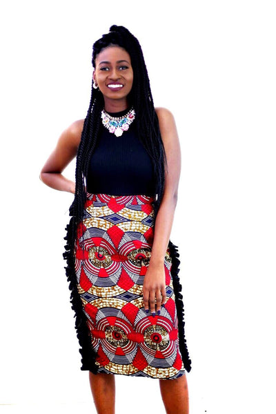 New in African Print Ankara Side Ruffle Pencil skirts - African Clothing from CUMO LONDON