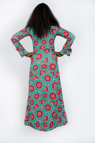 Long Sleeve Fitted African Print Maxi Dress - African Clothing from CUMO LONDON