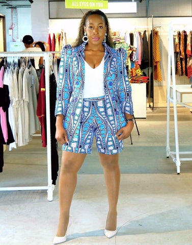 New In Noelle African Ankara Print Jacket and Shorts Set - ATMKollectionz